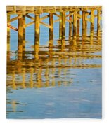 Long Wooden Pier Reflections Fleece Blanket