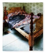 Long Sleeved Dress On Bed Fleece Blanket