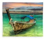 Longboat Sunset Fleece Blanket