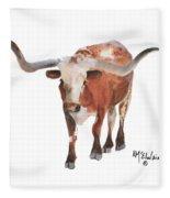 Longhorn 17 Big Daddy Watercolor Painting By Kmcelwaine Fleece Blanket