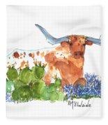 Longhorn In The Cactus And Bluebonnets Lh014 Kathleen Mcelwaine Fleece Blanket