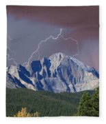 Longs Peak Lightning Storm Fine Art Photography Print Fleece Blanket