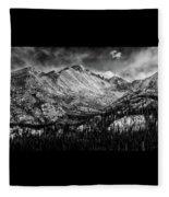 Longs Peak Rocky Mountain National Park Black And White Fleece Blanket