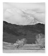 Longs Peak Snow Storm Bw Fleece Blanket