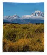 Looking Across Willow Flats To Mt Moran Fleece Blanket