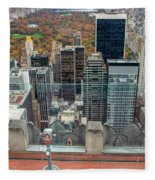 Looking Down At New York Central Park Surounded By Buildings Fleece Blanket