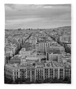 Looking Down On Barcelona From The Sagrada Familia Black And White Fleece Blanket