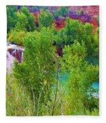 Looking Down On Navajo Falls And Havasu Creek Fleece Blanket