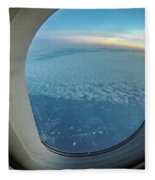 Looking Out Of Airplane Window During Flight Fleece Blanket