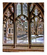 Looking Through An Arched Window At Princeton University At The Courtyard Fleece Blanket