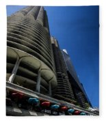 Looking Up At Chicago's Marina Towers Fleece Blanket