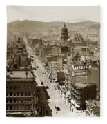 Looking Up Market Street From The Call Building With City Hall Circa 1900 Fleece Blanket
