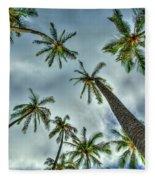 Looking Up The Hawaiian Palm Tree Hawaii Collection Art Fleece Blanket