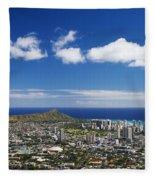 Lookout View Of Honolulu Fleece Blanket