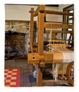 Loom And Fireplace In Settlers Cabin Fleece Blanket