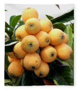 Loquat Exotic Tropical Fruit 4 Fleece Blanket