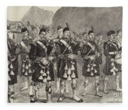 Lord Archibald Campbell And His Pipers Marching Through The Pass Of Glencoe Fleece Blanket