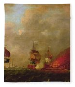 Lord Howe And The Comte Destaing Off Rhode Island Fleece Blanket