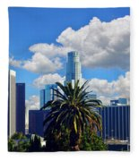Los Angeles And Palm Trees Fleece Blanket