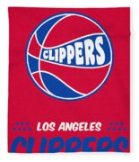 Los Angeles Clippers Vintage Basketball Art Fleece Blanket