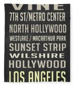 Los Angeles Vintage Places Poster Fleece Blanket