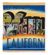 Los Angeles Vintage Travel Postcard Restored Fleece Blanket