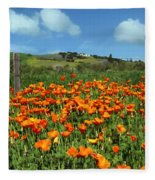 Los Olivos Poppies Fleece Blanket