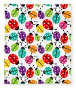 Lots Of Crayon Colored Ladybugs Fleece Blanket