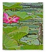 Lotus Blossom And Heron Fleece Blanket