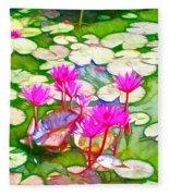 Lotus Flower 3 Fleece Blanket