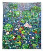 Lotus Flower Water Lily Lily Pads Painting Fleece Blanket
