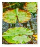 Lotus Flowers Leaves Fleece Blanket