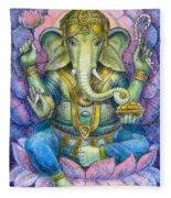 Lotus Ganesha Fleece Blanket