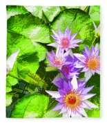Lotus In Pond Fleece Blanket