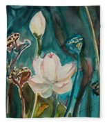 Lotus Study I Fleece Blanket
