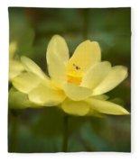 Lotus With Bee Fleece Blanket