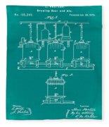 Louis Pasteur Brewing Beer And Ale Patent 1873 Green Fleece Blanket