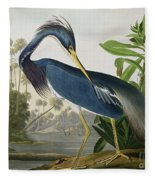 Louisiana Heron Fleece Blanket