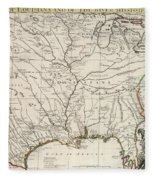Map Of Louisiana And Of The River Mississippi Fleece Blanket