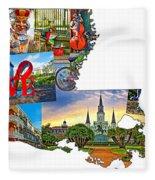 Louisiana Map - New Orleans Fleece Blanket