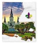 Louisiana Map - St Louis Cathedral Fleece Blanket