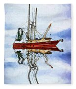 Louisiana Shrimp Boat 4 - Impasto Fleece Blanket