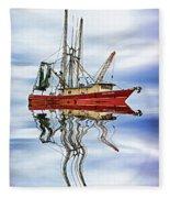 Louisiana Shrimp Boat 4 - Paint Fleece Blanket