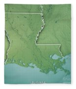 Louisiana State Usa 3d Render Topographic Map Border Fleece Blanket
