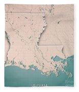 Louisiana State Usa 3d Render Topographic Map Neutral Border Fleece Blanket