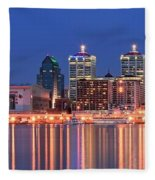 Louisville Panoramic At Blue Hour Fleece Blanket