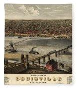 Louisville Vintage Map Fleece Blanket