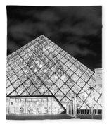 Louvre Museum Bw Fleece Blanket