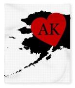 Love Alaska Black Fleece Blanket
