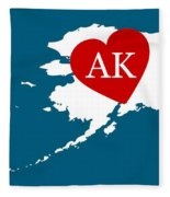 Love Alaska White Fleece Blanket